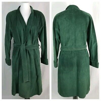 VTG Danier S/M Over-Sized Dark Green Genuine Suede Wrap Coat Long Sleeves Midi