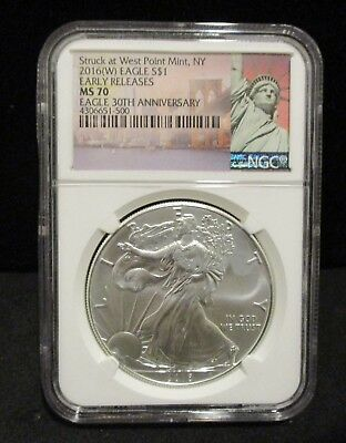 2015-W American Silver Eagle- NGC MS70 Early Releases 30th Anniversary- 500