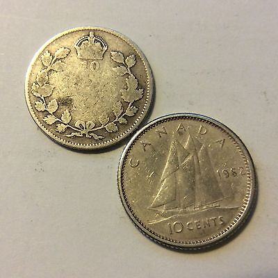 2 Coin Lot1962 & No Date Canadian Dimes Coin  H87  Free Shipping