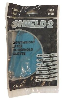 Shield 2 GR03 Lightweight Latex Household Gloves Small Medium Large