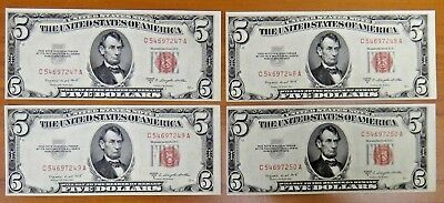 1953 B $5 United States Note Lot of 4 C-A Block Consecutive Red Seal US Currency