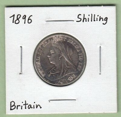 1896 Great Britain One Shilling Silver Coin - VF/EF