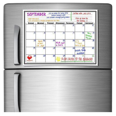17″x11″ Monthly Magnetic Refrigerator Calendar White Dry Erase Board Message US