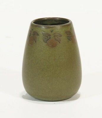 Marblehead Pottery Fruit Decorated Matte Green Vase Ht Arts Crafts