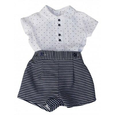 A Boys Spanish Romany short set Navy stripy spotty 3, 6,12&18 months