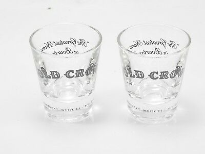 "2 Old Crow Shot Glasses- Frankfort, Kentucky- ""The Greatest Name in Bourbon"""