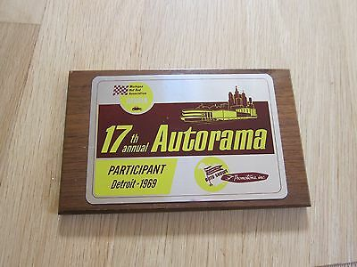 17th Annual DETROIT AUTORAMA 1969 Participant Wood PLAQUE SIGN