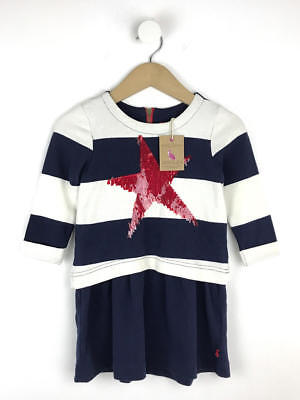 BNWT Joules Girls Navy Stripe Lucy Dress Age 4