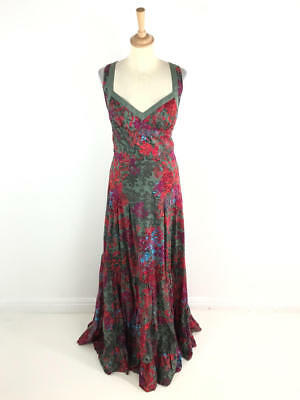 bb9eb4c369299 Ted Baker Womens Khaki Print Maxi Dress Size 1 (Uk 8)