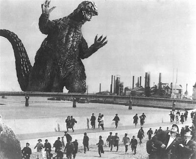 1964's GODZILLA VS. THE THING monster star a looming menace b/w 8x10 scene