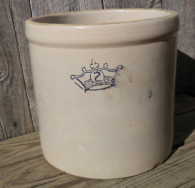 Antique Vintage 2 Gallon Robinson Ransbottom Crown Stoneware Crock, No Cracks!