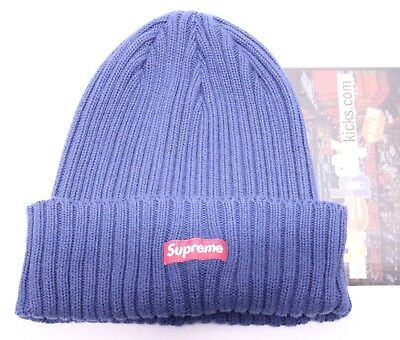 163d3dadf8e Supreme New York Heather Loose Gauge Box Logo Navy Blue Red Beanie Hat FW17  New