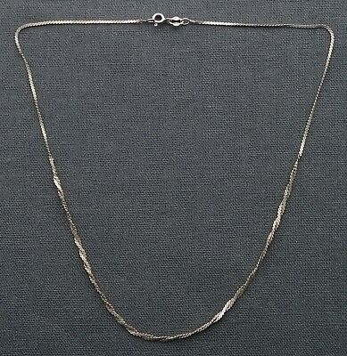 "Vintage 925 Solid Sterling Silver Twist Front Necklace 16""  Dainty"