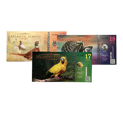 Set of 3 different Atlantic Forest fantasy paper money 2010 $17, $18, $19