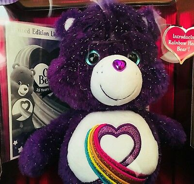 Anniversary Limited Edition Care Bear Rainbow Heart Bear Purple Kids Toys