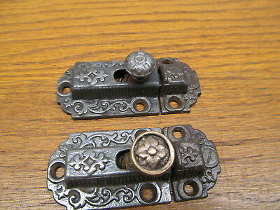 Smaller Pair Of Old Cupboard Latches....ornate