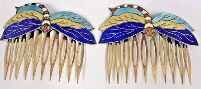 "Vintage Pair of Cloisonne Enamel Rare ""Dragonfly"" Hair Combs Gorgeous Colors!!!"