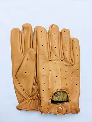 Tan New Real Soft Leather Mens Driving Fashion Gloves