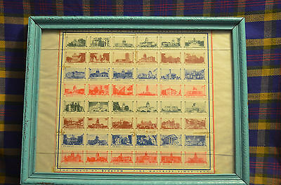 Hard to Find Salute to the 48 States Framed Stamp Collection by Seagrams Distill