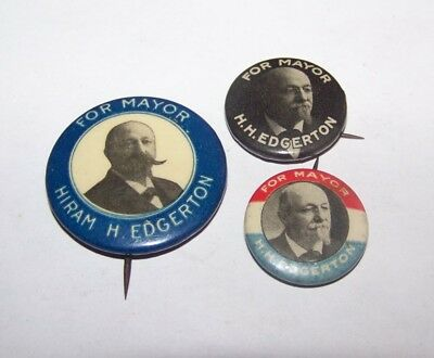 Lot 3 1908-1922 Hiram Edgerton Rochester Ny Mayor Political Pinback Badge Button