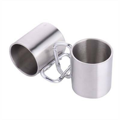 220ml Double-deck Stainless Camping Cup with Carabiner Handle Home Office Cups