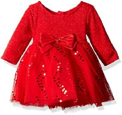 e5e4e32e9 Youngland Baby Girls Metallic Sweater Knit to Tutu Mesh Dress Red size:6-9