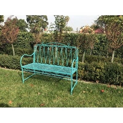 Garden Bench Metal Chair Seat Home & Garden Decor 2/3 Seater Turquoise