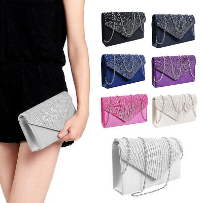 Womens Satin Diamante Evening Bridal Bag Ladies Clutch Handbags Wedding Prom