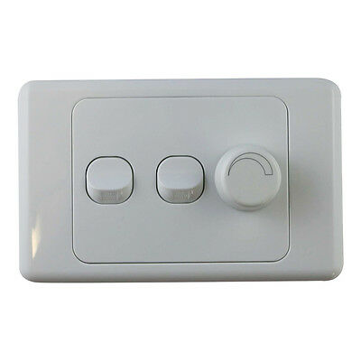 3 Gang Wall Plate with Switch & LED Light Dimmer SAA - Trailing Edge