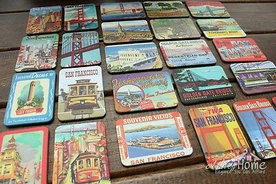 24 Pieces United States San Francisco Multi-Scenes Art Paper Fridge Magnets Gift