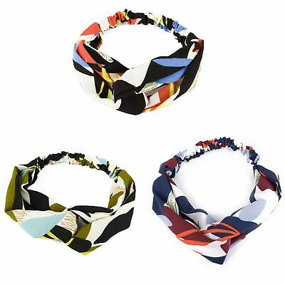 Ladies Crepe Wire Twisted Knot Headband Hairband Wrap Bold Multi Coloured Scarf