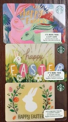 🐇🐰🌼Lot Of 3 -EASTER STARBUCKS GIFT CARDS FROM 2018 ++ Free Shipping Included