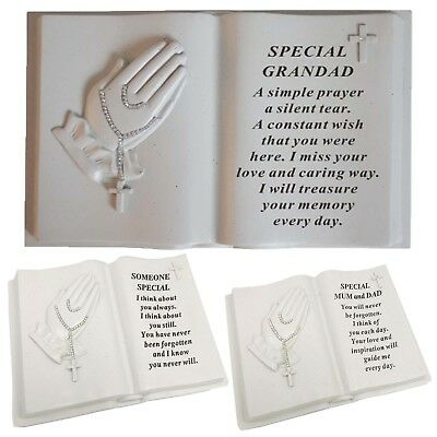 Praying Hands Memorial Book With Rosary Bead Decoration Grave Plaques Keepsakes