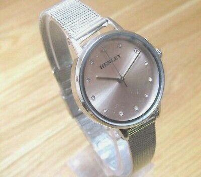 Ladies Henley Watch Light Pink Dial Crystal Markers  Silver Sliding Bracelet