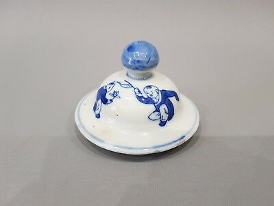Good Chinese 19Th C Porcelain Kangxi Style Blue & White Jar / Vase Lid / Cover