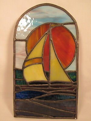 Vintage Stain Glass Window Hanging Picture Sailboat On Water W/ Setting Sun Behi