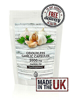 Odourless Garlic 1000mg Oil Extract Food Supplement 30/60/90/120/180/250/500