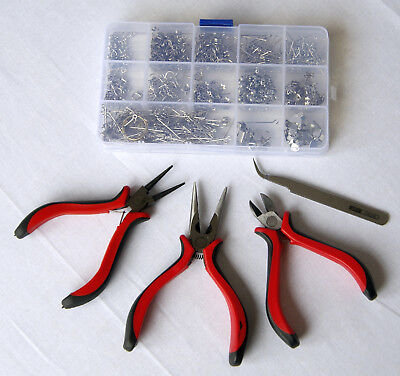 Jewellery making starter kit mix, pliers set, silver beads pins earring hooks