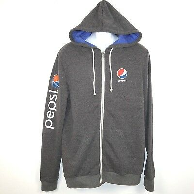Pepsi Full Zip Fleece Hoodie Jacket XL Gray Hooded Sweatshirt Golden Goods USA
