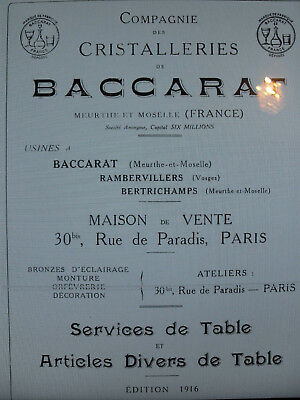 BACCARAT 1916 art de table Catalogue livre cristalleries Format 100 PAGES PDF