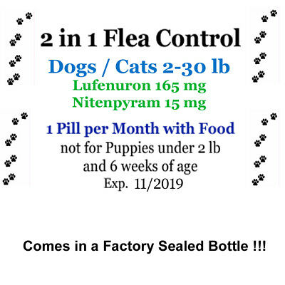 2in1 Flea Killer & Control in one Pill for Dogs/Cats 2-30lb 6month prevention