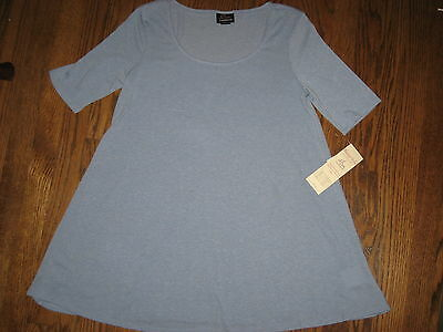 NEW Motherhood Oh Baby maternity womens medium top knit shirt blue short sleeve