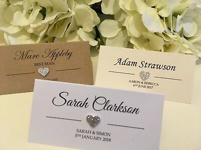 SILVER GLITTER HEART personalised Wedding place cards white Ivory