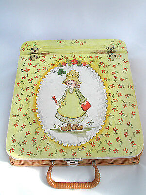 Hand-made Folk Art Portable Travel Writer Lap Desk Wood Surface with Wicker Case