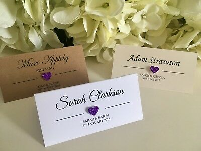 Copper Glitter Heart personalised Wedding place cards white Ivory Kraft