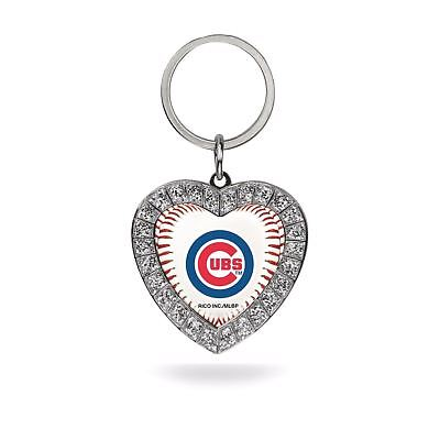 Chicago Cubs Keychain Rhinestone Heart Women's MLB Bling Key Ring