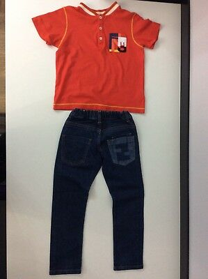 Fendi Boys Outfit, Set, Size Age 6-7 Years, Jeans & T Shirt, Vgc