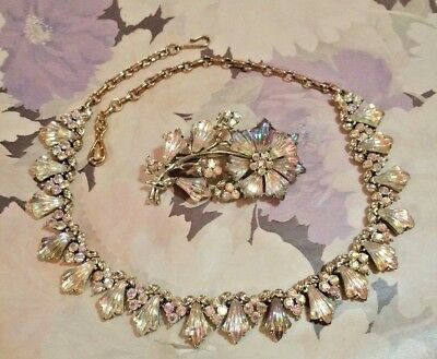 Vintage AB Crystal Jewelry Set Necklace Choker and Flower Pin Brooch