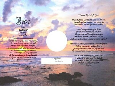 """Loss of a Loved One Poem with Name Meaning  and 2"""" Photo Insert - Memorial"""
