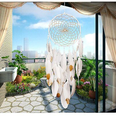 Handmade Dream Catcher Wall Hanging Home Feather Decor Ornament Craft White Gold